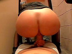 Gorgeous Brunette Blowjob and Ride in the Toilet in POV Vid