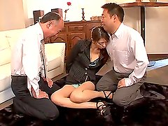 Vaquera - Pretty Asian babe gets her wet pussy fucked by two cocks