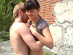 Cock Sucking Brunette Babe Rides a Dick Outdoors in Public