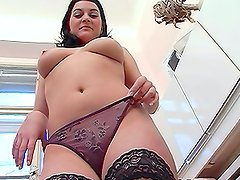 Busty Chubby Brunette Amateur Fucked In The Kitchen