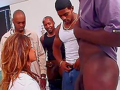 Cherie the slutty doctor gets gangbanged by Black guys
