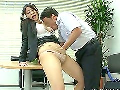 Japanese office girl gets fucked by her boss at work