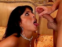 Adrianna Analese the horny brunette MILF gets fucked cowgirl