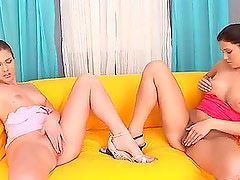 Horny Teens Giving a Hot Blowjob to a Single Cock in Threesome