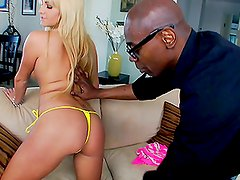 blonde whore gets a massive black cock up her gash