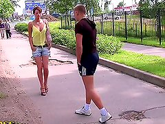 Outdoor Blowjob Threesome with Beautiful Czech Teen