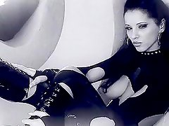 Amazing black and white video of a gorgeous brunette getting her holes drilled