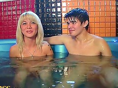 Blondie Sucks 2 Dicks In A Sauna & Gets Nailed