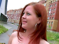 Dazzling Redhead Blowjob and Awesome Fuck in the Car