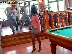 Gorgeous Chicks Getting Naked in Pool Hall Eager for Sex