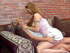 Naughty milf seduces this slender babe and makes her lick her pussy