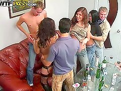 Drunken Cock Sucking Bitches Giving Blowjobs in Group Sex Video