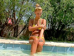 Beautiful Horny Blonde Stunner Playing With Her Pussy in the Pool