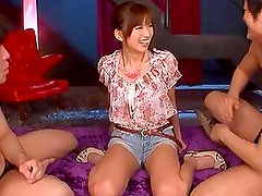 Saki Ayano gives a double blowjob and gets a hard fuck!