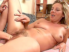 Naturally Breasted Blonde Angela Gets Toyed and Fisted
