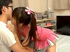 Japanese teen Tsubomi sucks a dick and gets cum on her palms