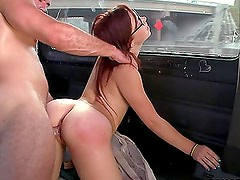 Aubrey James sucks a dick and gets fucked in cowgirl position and doggy style