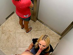 Sex With Two Girls In An Elevator With A Security Camera.