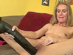 Sara James stretches her pussy with two king-size toys