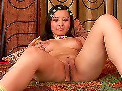 Chick Oils Up Her Titties & Toys With Cock-Shaped Dildo.