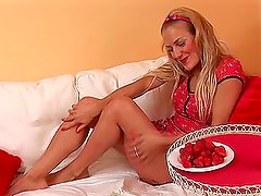 A Blonde Chick Playing With Strawberries & Whipped Cream.