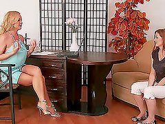 Naughty Michelle shows her body to Silvia Saint at the interview