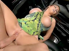 Busty Jenna Presley gets fucked hard in the car