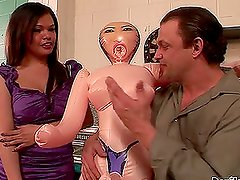 Carmen Moore the hot brunette shemale whore gets ass fucked