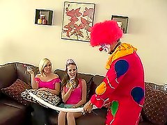 Hot chick has anal sex with a clown during a party