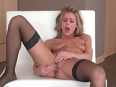 Long dildo fucks a sexy blonde girl