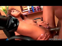 Glamorous ebony minx with cute curly hair rides black cock