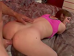 Kinky shemale Tiffany Starr sucks a dick and gets her ass pounded