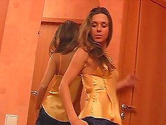 Hot sweet Agnes strips and masturbates in front of the mirror