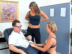 Two slutty chicks welcome a new chum in their office