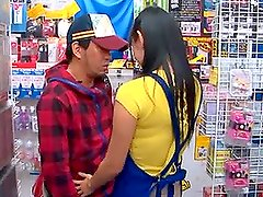 Nana Ogura the sexy salesman gives a blowjob in the shop