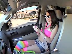 Katie Summers sucks Vince Vouyer's dick in a car and they go indoors to fuck