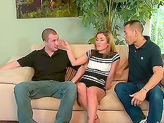 Sheena Shaw stuffs her mouth and pussy with hard cocks
