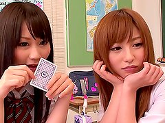 Pretty Japanese teens Cocomi Naruse and Miina Kotaki play strip poker