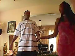 Ebony chick Angel Eyes lets her BF cum on her face after he fucks her