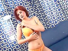 Slim red haired hottie gets her asshole wet and stuffed