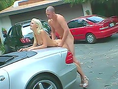 Desirable blondie Tanya James sucks Tony's cock in the car