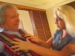 Horny blond fucks this grandpa, while two other babes share a hard cock