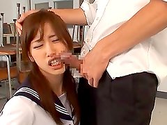 Japanese teen Chika Eiro sucks a cock and gets cum on her chin