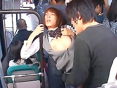 Japanese schoolgirl sucks a cock and gets fucked in public bus
