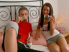 Adorable Ilina gets licked and fucked by two guys