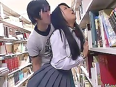 Japanese schoolgirl is having a kinky sex in the library
