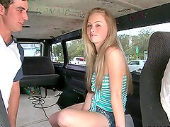 A long-haired blonde gets remarcably fucked in a minivan