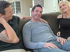 Two guys suck and ride each other's cocks, and please a girl as well