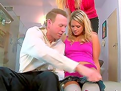 Two hot blonde babes Heather Starlet and Lisa Demarco share one guy