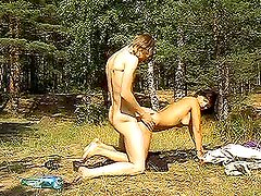 Beautiful babe Mary is having sex with her BF in woods